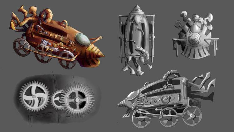 Planches d'illustration : armes médiévales et véhicules steampunk